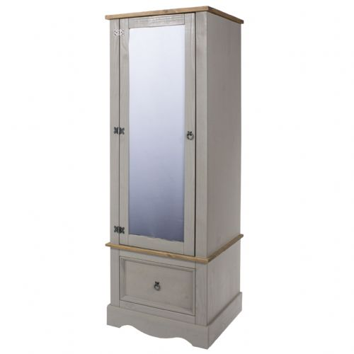 Premium Corona Grey Wash Armoire With Mirrored Door